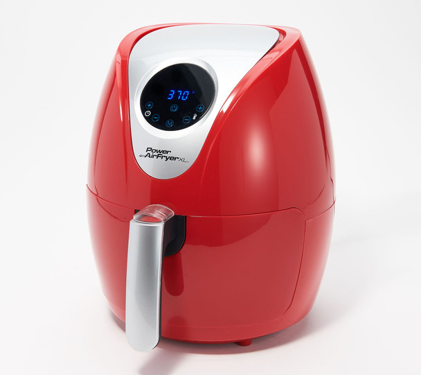 Power XL 2.4-qt Digital 1200W Air Fryer with Recipes and Divider  - RENEWED