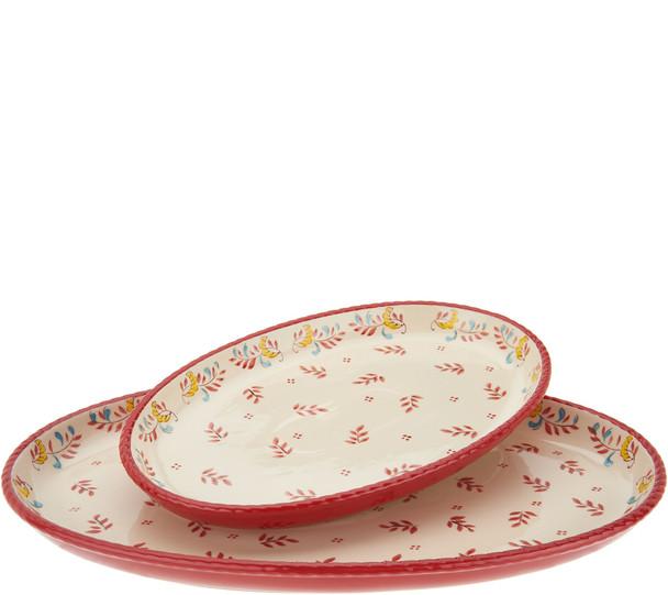Valerie Bertinelli 2-Piece Hand-Painted Platter Set