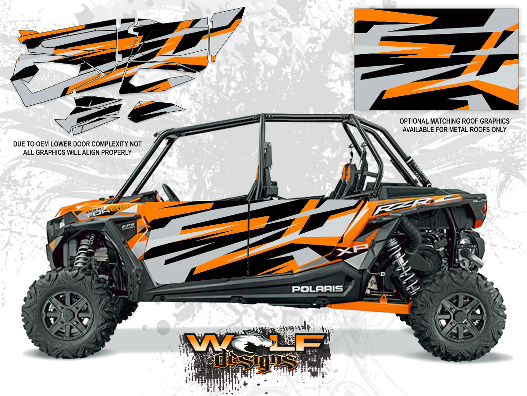 Polaris Rzr Xp4 Turbo Spectra Orange Utv Door Graphics Kit