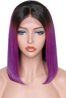 Straight Lace Front Pre-Plucked Bob Wig, Ombre Purple/Black