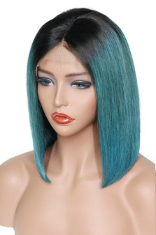 Straight Lace Front Pre-Plucked Bob Wig, Ombre Aqua Green/Black