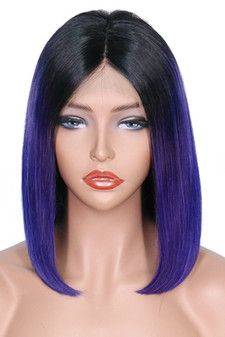 Straight Lace Front Pre-Plucked Bob Wig, Ombre Dark Purple/Black