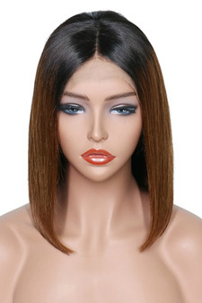 Straight Lace Front Pre-Plucked Bob Wig, Ombre Brown/Black