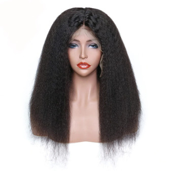 Kinky Straight Lace Front Pre-Plucked Single Knot Wig with Baby Hair