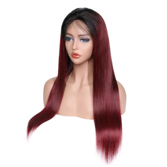 Straight Lace Front Pre-Plucked Wig with Baby Hairs Strawberry Ombre