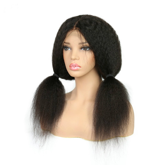 Kinky Straight Lace Front Pre-Plucked Wig with Baby Hairs