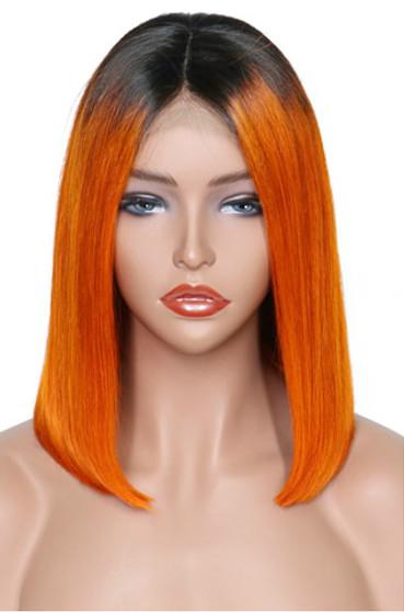 Straight Lace Front Pre-Plucked Bob Wig, Ombre Orange/Black