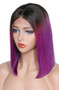 Straight Lace Front Pre-Plucked Bob Wig, Ombre Purple/Black