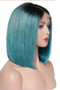 Straight Lace Front Pre-Plucked Bob Wig, Ombre Aqua Green/Black