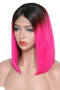 Straight Lace Front Pre-Plucked Bob Wig, Ombre Hot Pink/Black