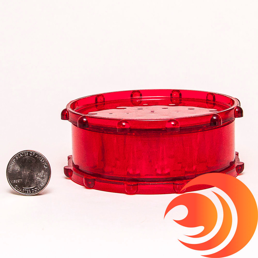 This red smoke accessory has one chamber: for grinding, collecting, and storing. Get this grinder with free shipping at Atomic Blaze with minimum orders.