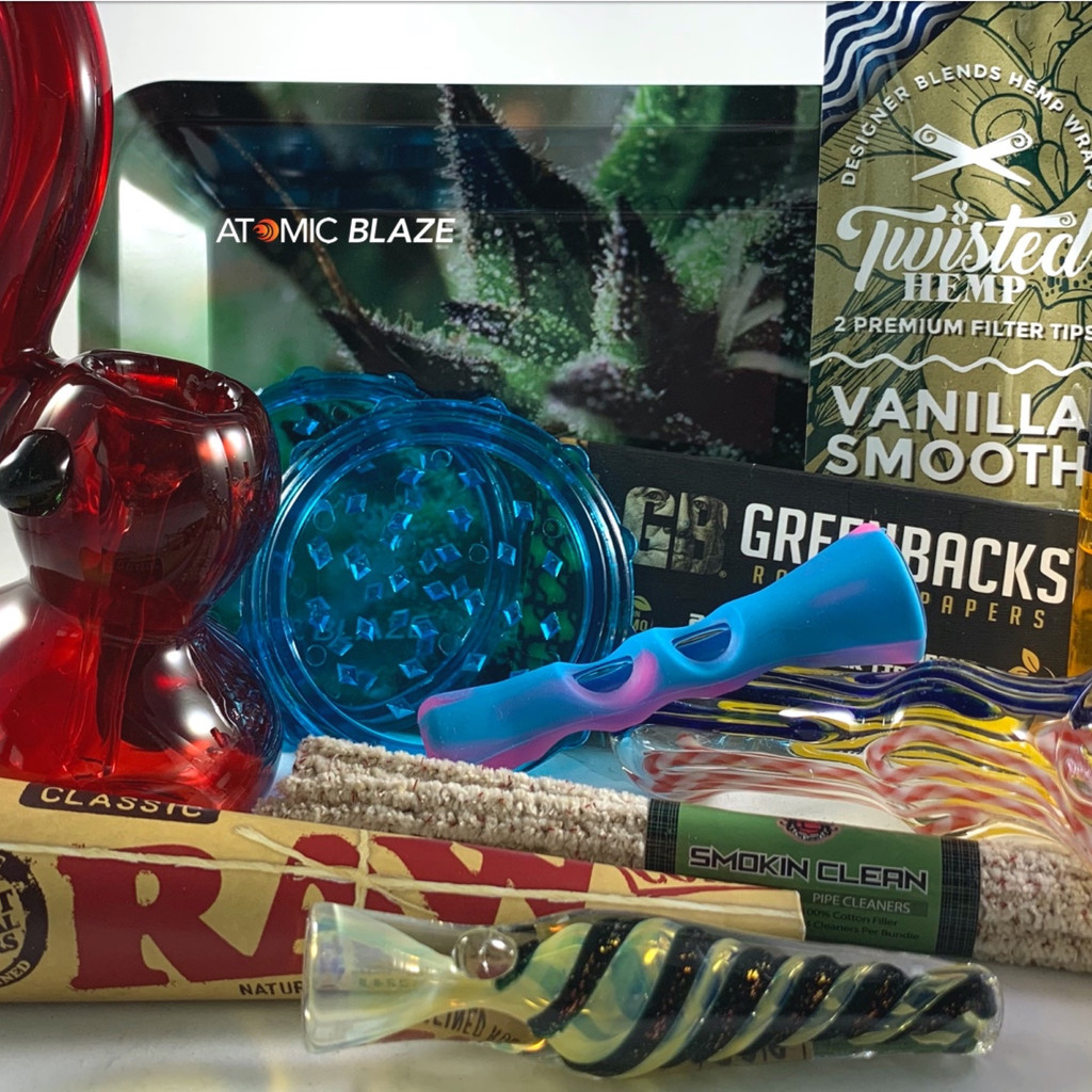 The Blazers Box smoking subscription box curated by Me Time Box Products for the Atomic Blaze Online Smoke Shop.