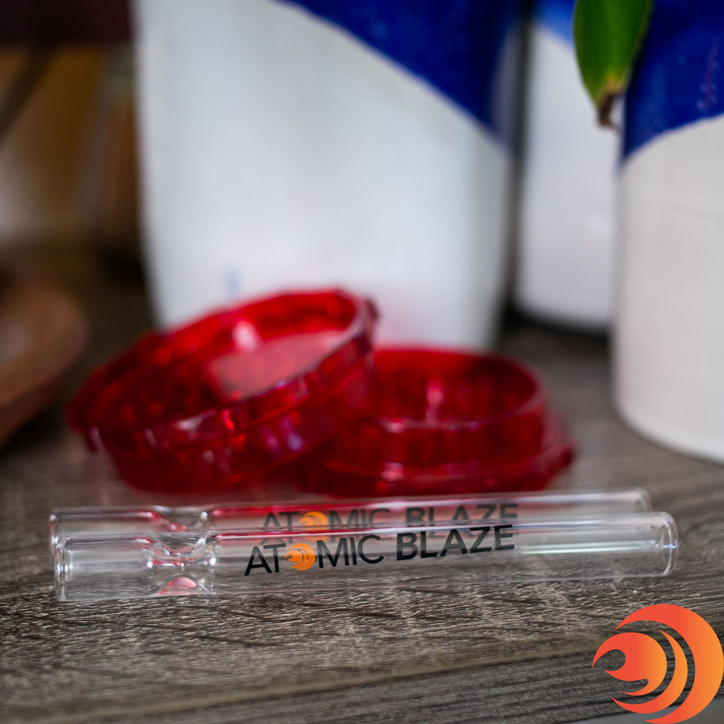 This large red plastic grinder from Atomic Blaze Headshop Online is a must have for any smoker and is inside the Standard Bundle.