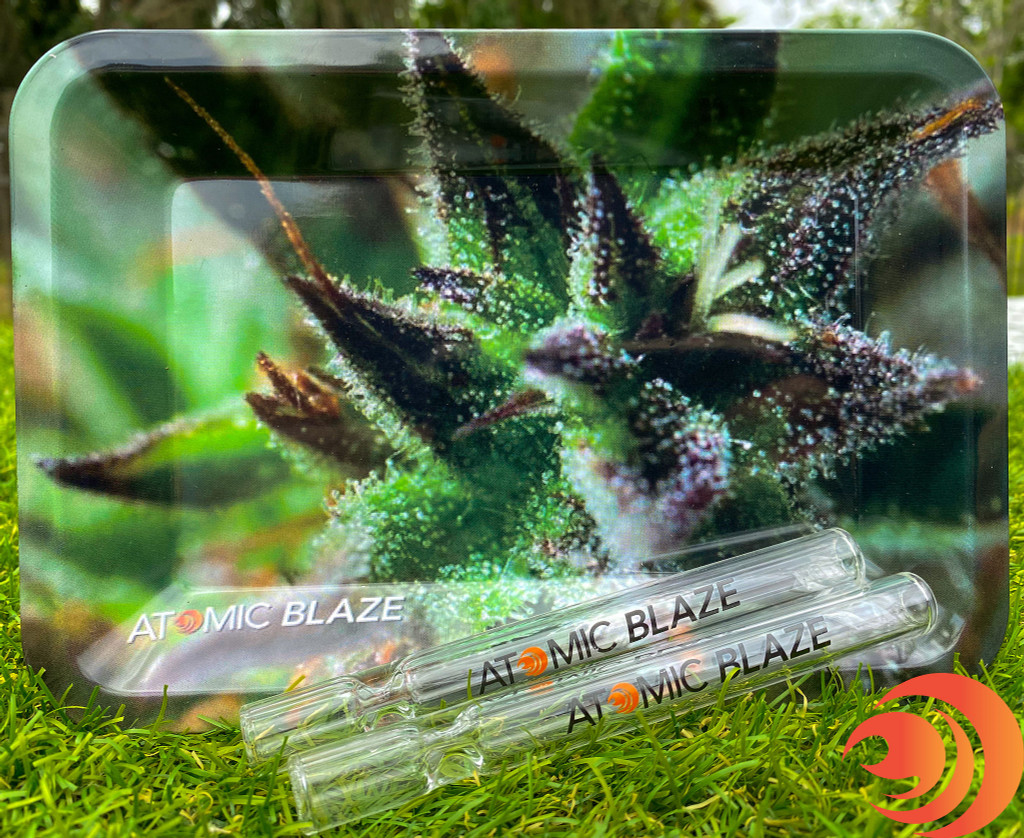 The Atomic Blaze Basic Glass Bundle comes with two one hitters and a rolling tray for your smoking accessories.