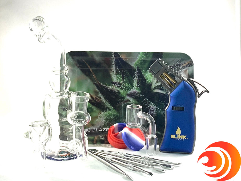 An artistic leaf rolling tray comes with this affordable premium dab kit bundle with torch from our smoke shop.