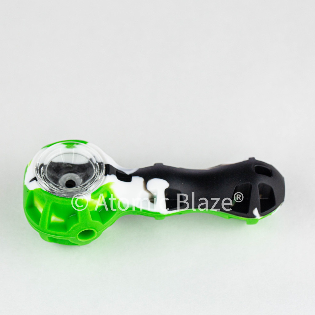 These silicone pipes from Atomic Blaze online smoke shop come with a metal poker tool for easy cleaning.