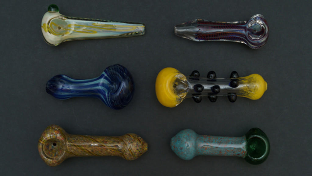 There are multi-colored and studded glass pipes on sale for clearance in Atomic Blaze Smokeshop online Factory Seconds.