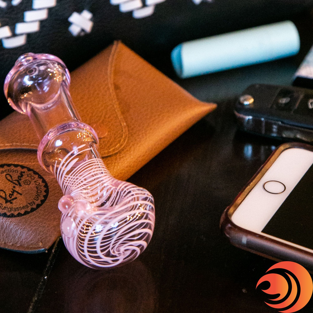 """This stylish 5"""" glass pipe at Atomic Blaze smoke shop, is the perfect fit for a purse or pocket!"""