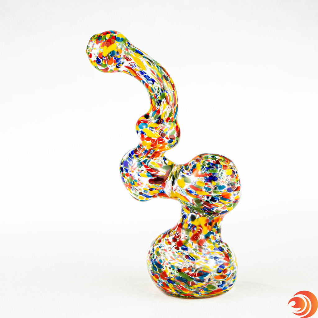 "Not only does this 7"" glass pipe bring the party with its confetti patterned glass, but it is the exact right size for your smoking needs. On sale at Atomic Blaze Online Smoke Shop."