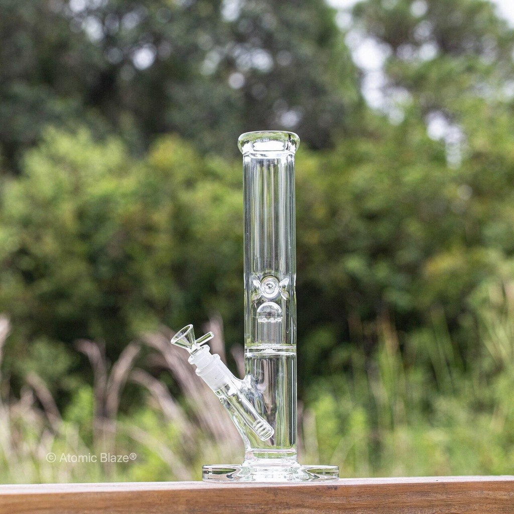 Sale on a 13 Clear Glass Bong from AtomicBlaze Headshop and we always have the cheapest glass pipes and bongs and free shipping promos