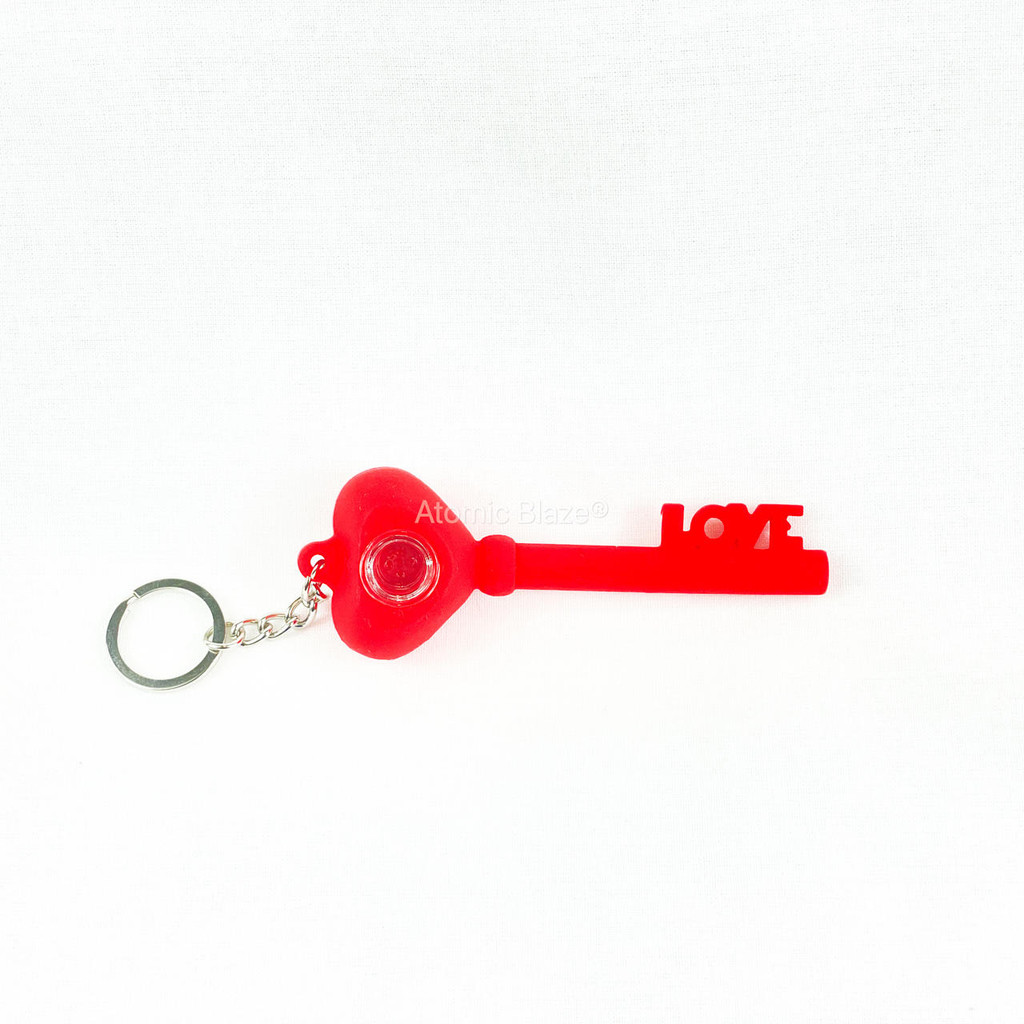 Sale on a Key of Love Keychain Silicone Pipe from Atomic Blaze Headshop in red and we always have the cheapest glass pipes and bongs and free shipping promos