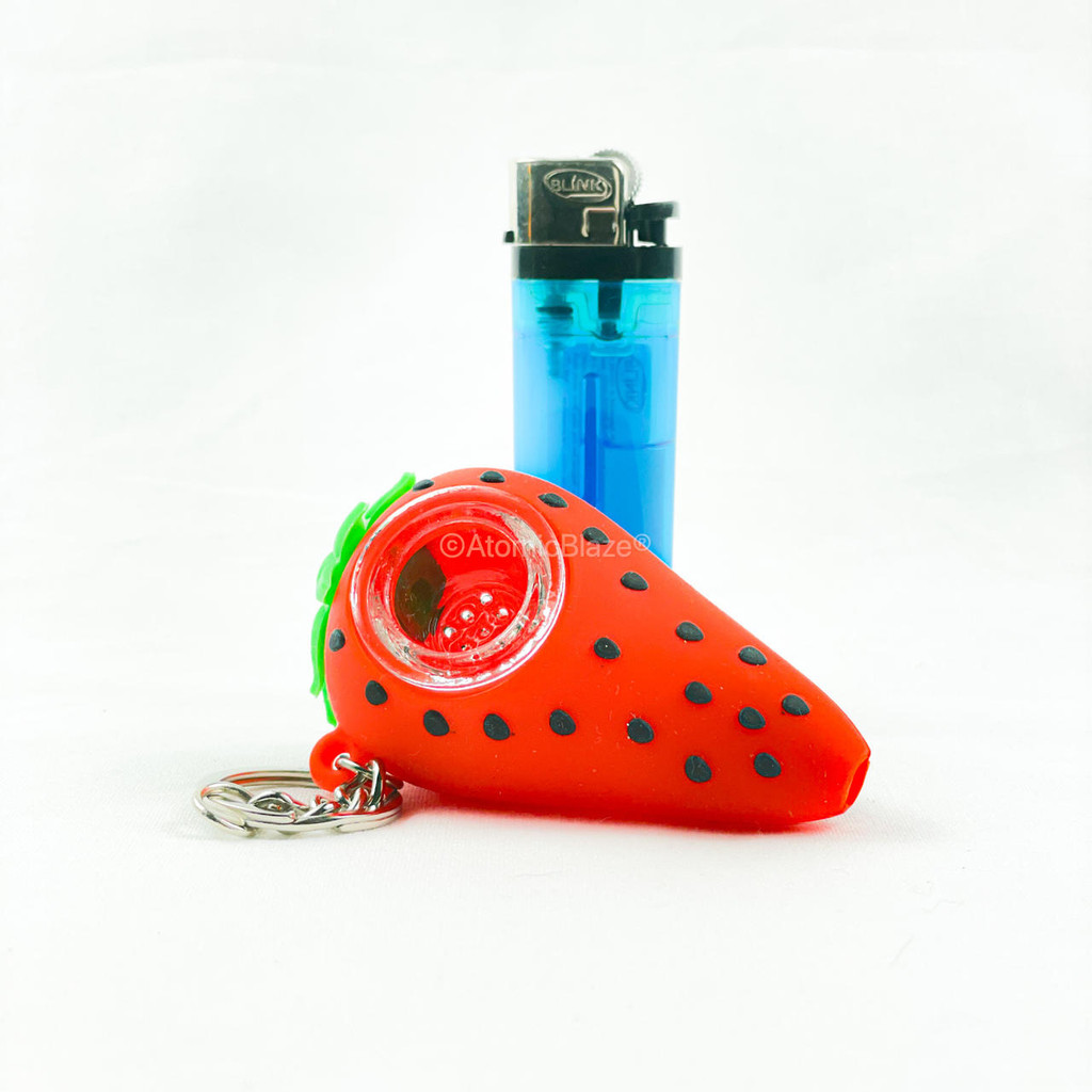 Sale on a Silicone Strawberry Keychain Pipe from AtomicBlaze Headshop and we always have the cheapest glass pipes and bongs and free shipping promos