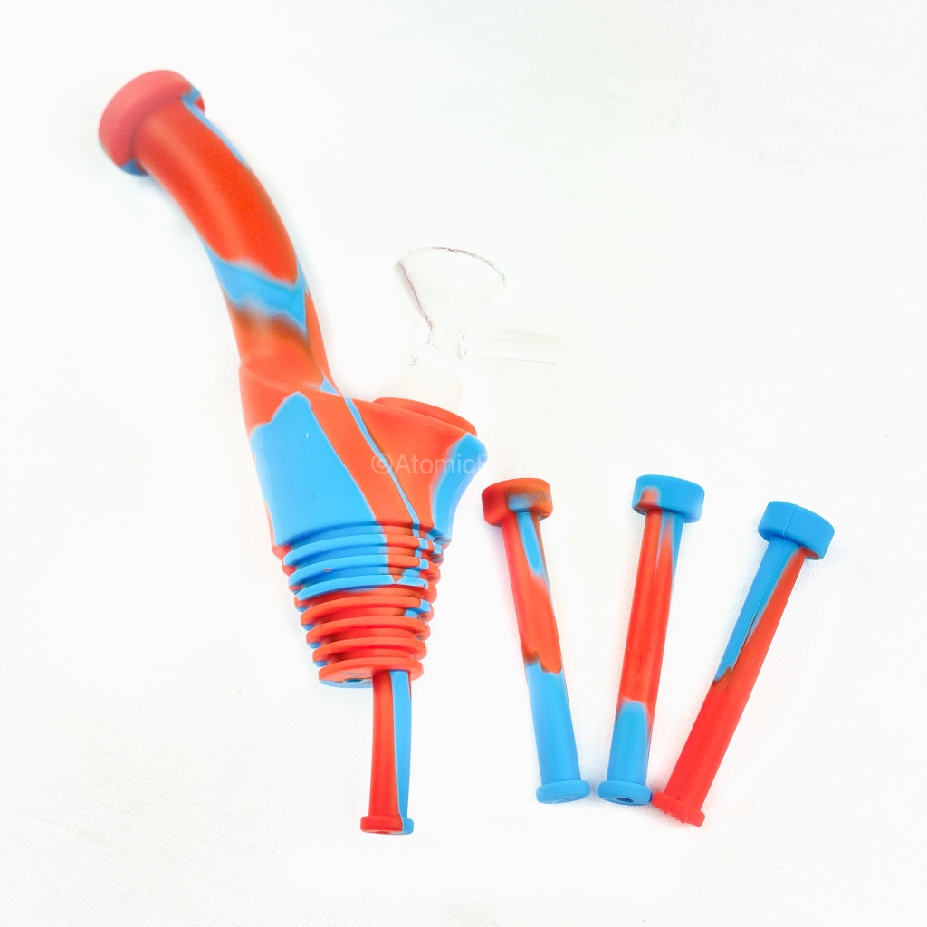 Atomic Blaze Online Smoke Shop has Silicone Bottle Bong Topper in orange and blue.
