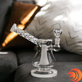 Easily relax on your couch and smoke your stash with this Clear Twisted Stem Convertible Dab Bong from Atomic Blaze Smoke Shop in Sarasota, FL