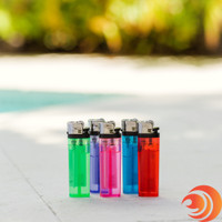 Atomic Blaze online headshop carries lighters in blue, green, purple, pink and red with see-through bodies.