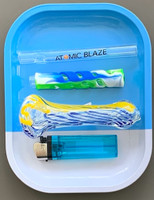 """This 4"""" Glass Pipes Bundle includes a 4 inch thick glass spoon pipe, an Atomic Blaze chillum, a blink lighter, a rolling tray and a 4 inch silicone wrapped glass one hitter pipe."""