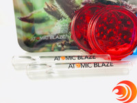 This bundle has two AtomicBlaze Smoke Shop Online branded chillums plus a small tray, a plastic grinder and lighter.