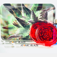 You get an acrylic grinder, 2 one hitters & a rolling tray in this bundle from Atomic Blaze Headshop Online.