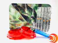 Here are 5 branded chillums, a leaf print rolling tray, a red grinder and a blue Blink lighter from Atomic Blaze Online Smoke Shop