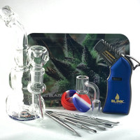Your dab kit bundle with torch comes with a convertible dab rig, glass bowl, a banger nail, and stainless steel dab tools.