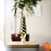 Here's a sophisticated & blue and gold swirl dichroic glass chillum from the best online smoke shop, located in Sarasota, FL.