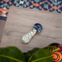 Here's a classic triple blown spoon pipe with a blue bowl and white swirls around the stem at Atomic Blaze Smoke Shop Online.