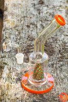 The Atomic Blaze smoke shop featured this pyramid glass dab rig has a pyramid inside that aids in the filtration and drag.