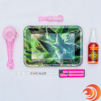 This Girly PinkGlass  Pipe Pack also includes a pink lighter, air freshener, and a small metal tray from Atomic Blaze.