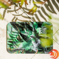 The Atomic Blaze leaf small metal tray keeps your tobacco, glass pipes, and cones together in one organized place in the Girls Night In party pack.