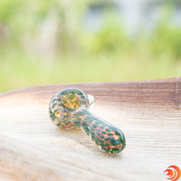 "Spend a little green, then put a lot of green in this 4"" green glass pipe we have for sale at Atomic Blaze smoke shop."