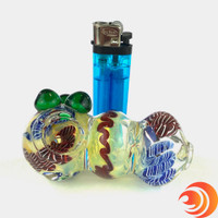"""The glass knobs are one of our main favorite features on this 3"""" pipe from Atomic Blaze Smoke Shop."""