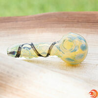 "You won't be disappointed by the beautiful double helix design of this 5"" glass pipe for smoking from Atomic Blaze headshop online.."