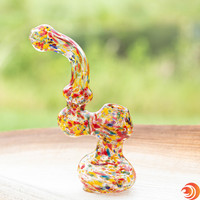 "You'll be feeling bubbly off this 7"" confetti bubbler. If there was a champagne of smoking, it might just be this 7"" glass piece we have for sale at Atomic Blaze Smoke Shop."