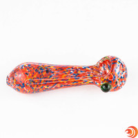 "Buy a 5"" Red confetti glass pipe bowls for smoking from Atomic Blaze Head Shop Online in Sarasota Florida."