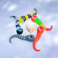 Silicone and glass Octopus arm dry herb smoke pipe from Atomic Blaze Online Smoke Shop