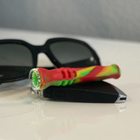 Get a Silicone Keychain One Hitter Pipes from Atomic Blaze Online Smoke Shop in Rasta Colors