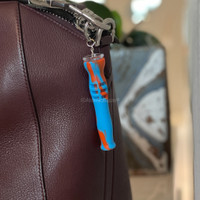 Get a Silicone Keychain One Hitter Pipes from Atomic Blaze Online Smoke Shop in Blue and Orange Swirl