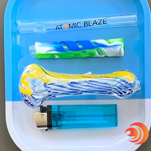 "This smoke pipe bundle has all the best types of glass pipes with a silicone chillum, glass chillum, 4"" glass pipe, small metal rolling tray and lighter."