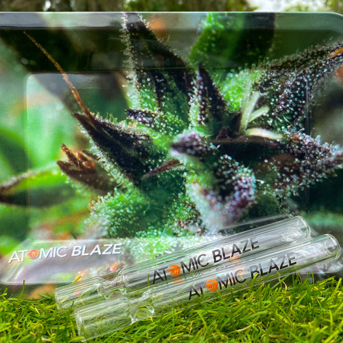 This essential Atomic Blaze Online Smokeshop Bundle has two atomicblaze.com branded glass chillums and a small metal rolling tray, perfect for the daily smoker.