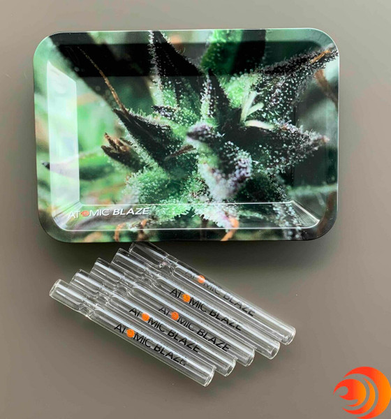 Get a fantastic deal on a 5 back of glass chillums and a quality rolling tray in this online smoke shop launch deal.